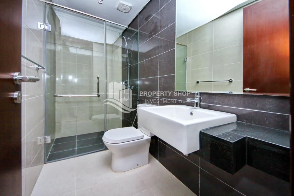 Bathroom - Full sea view in a 2BR apartment with built in cabinet, balcony & free parking space in Al Maha Tower.