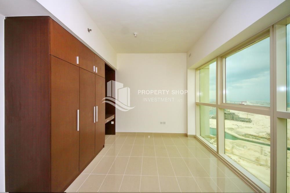 Bedroom - Full sea view in a 2BR apartment with built in cabinet, balcony & free parking space in Al Maha Tower.