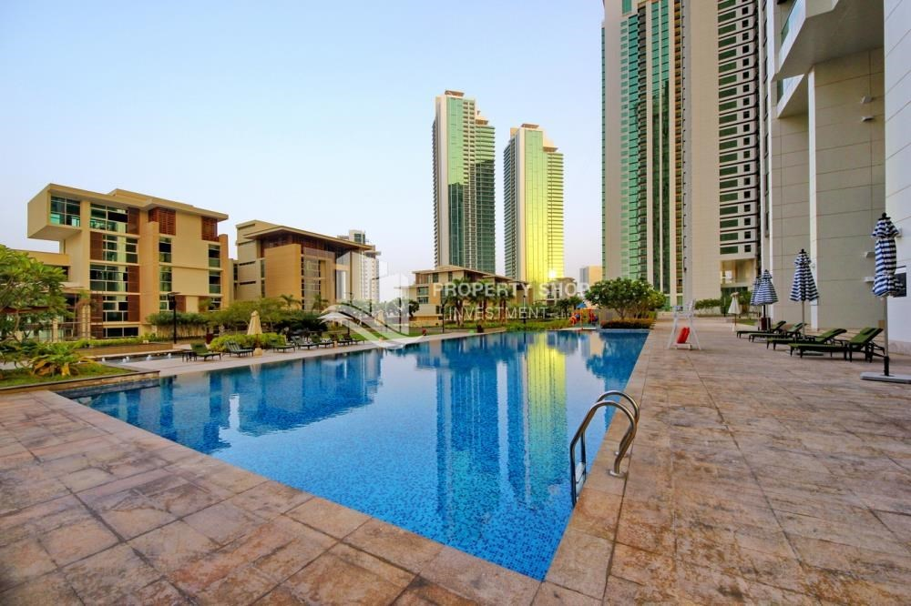 Community - Full sea view in a 2BR apartment with built in cabinet, balcony & free parking space in Al Maha Tower.