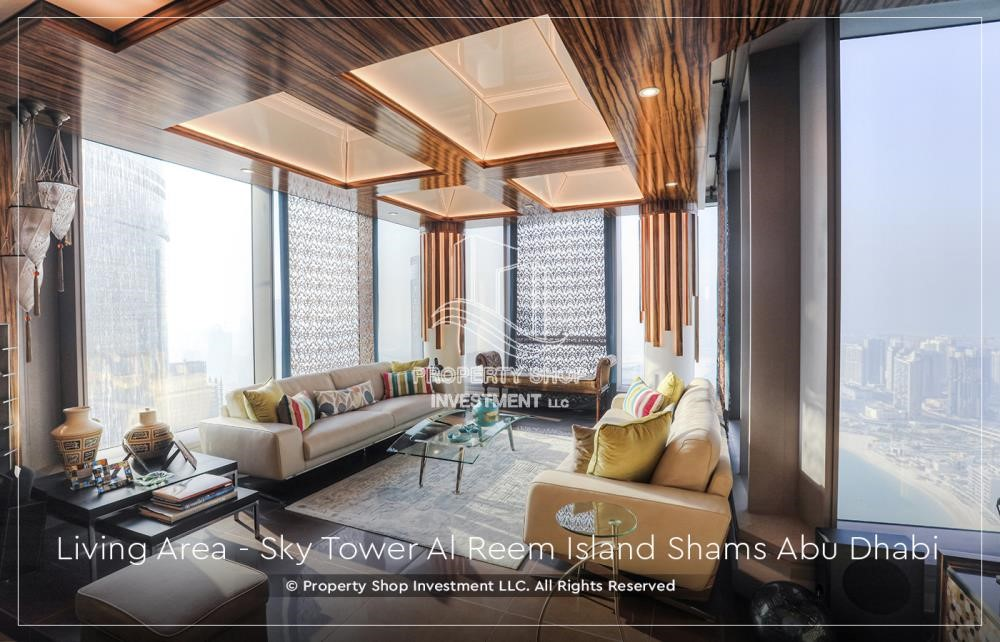Living Room - Own a high floor fully-furnished 2BR+M Apt with sea view plus skypod