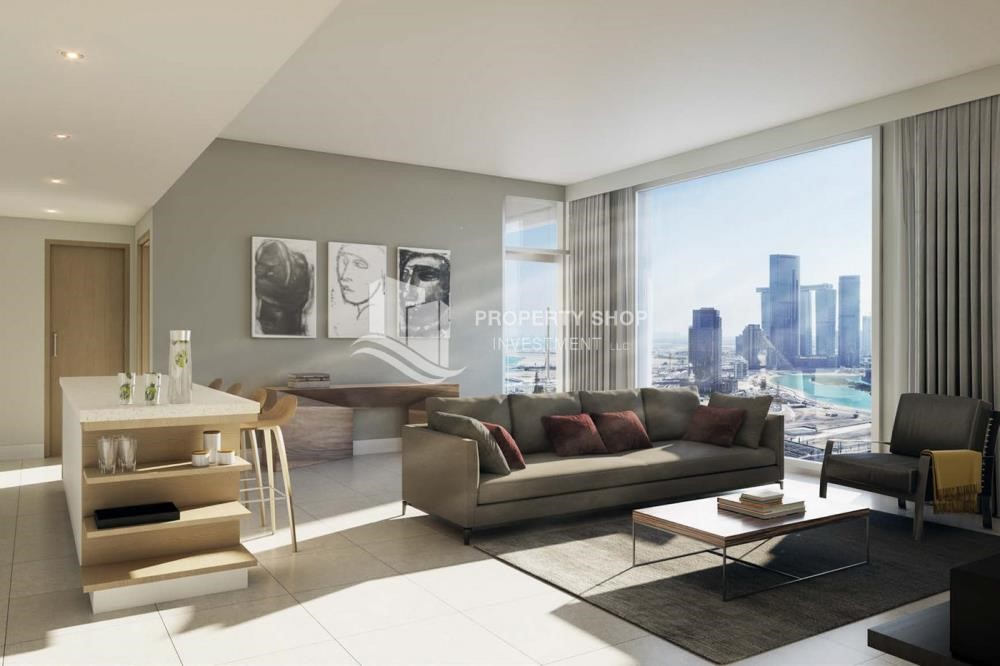 Living Room - Stunning 1BR Apt with a breathtaking view of Al Reem canal.