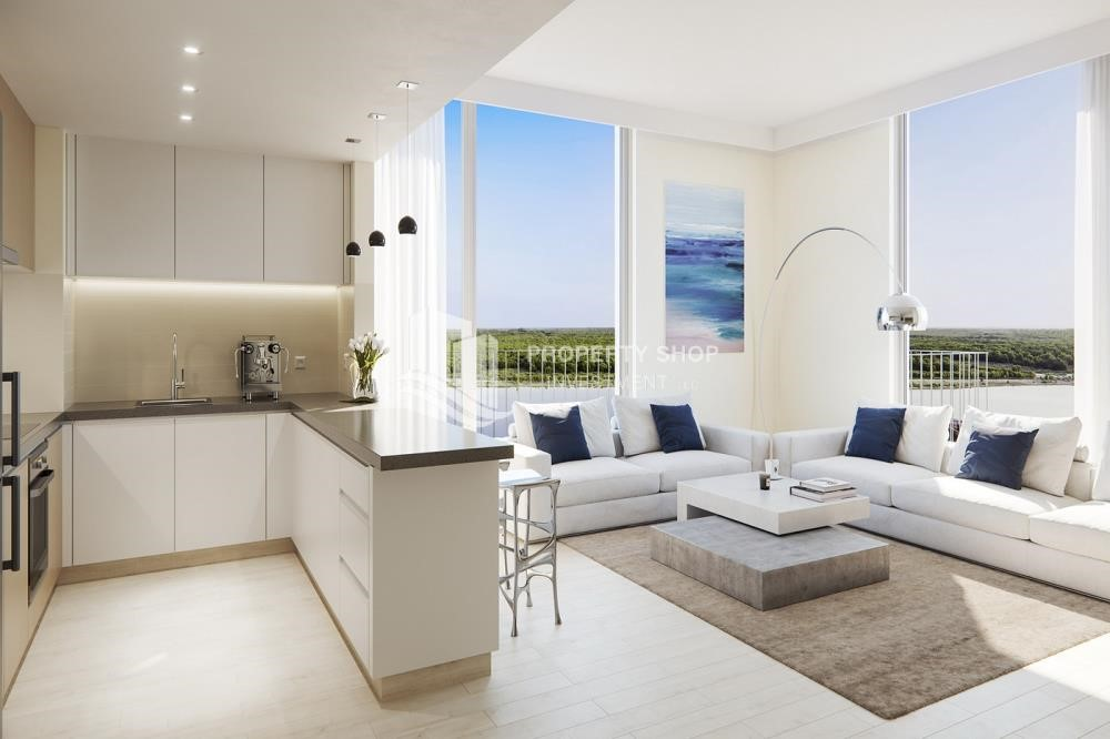 Living Room - 3BR+M in a brand new community in Yas Island.