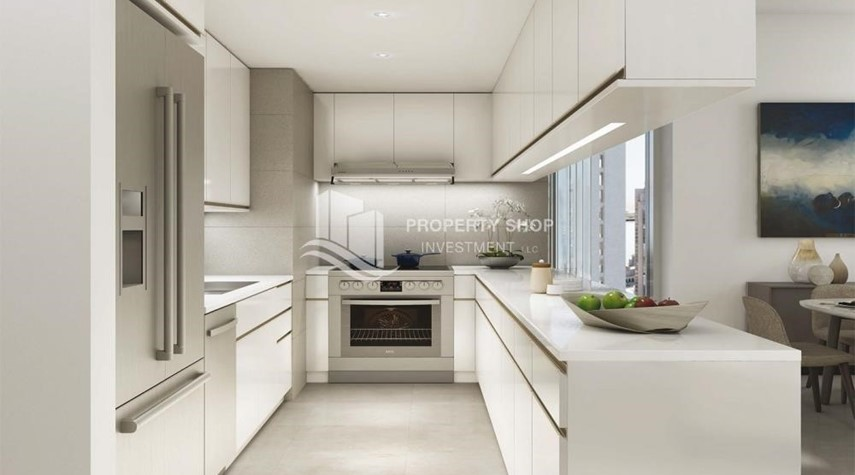 Kitchen-3BR apartment plus maid's room available in Creek Horizon, Dubai.