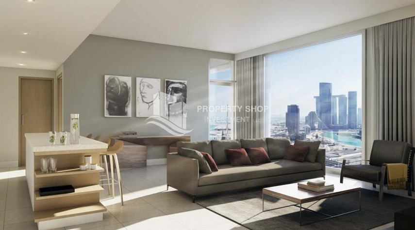 Living Room-Brand new 3BR apartments in Al Reem Island available for sale.