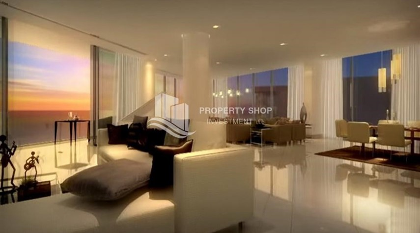Living Room-High floor 3 bedroom apartment + maid with 3 balconies