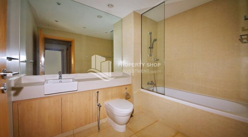 Bathroom-2BR apartment on high floor with street view.
