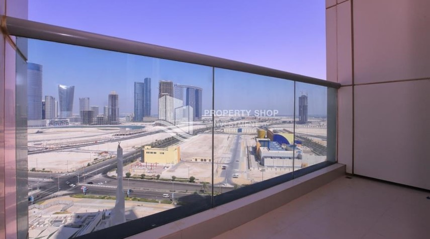 Balcony-Full sea view in a 2BR apartment with built in cabinet, balcony & free parking space in Al Maha Tower.