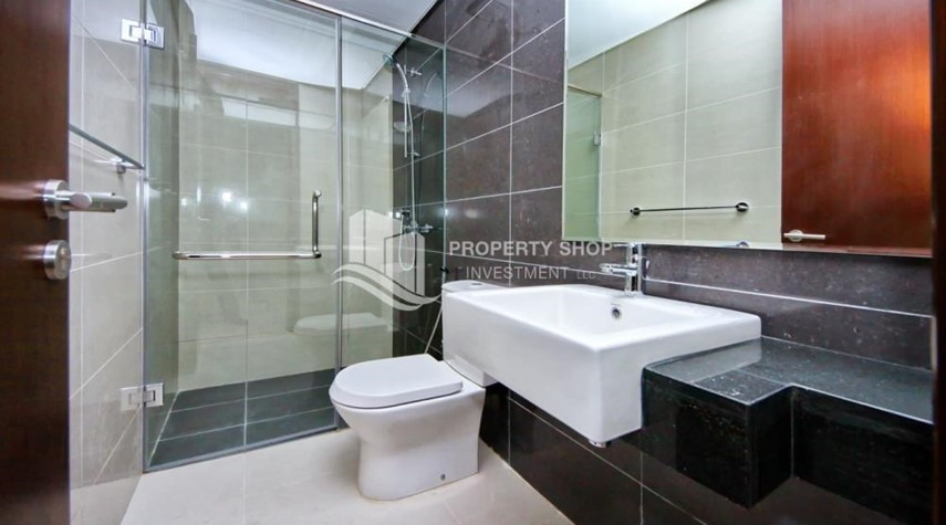 Bathroom-Full sea view in a 2BR apartment with built in cabinet, balcony & free parking space in Al Maha Tower.