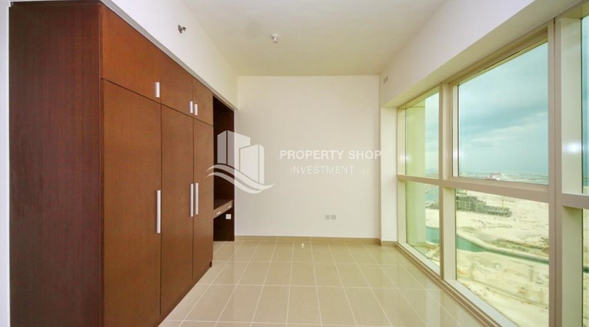 Bedroom-Full sea view in a 2BR apartment with built in cabinet, balcony & free parking space in Al Maha Tower.