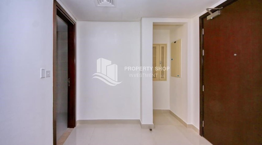 Hall-Full sea view in a 2BR apartment with built in cabinet, balcony & free parking space in Al Maha Tower.