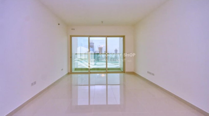 Living Room-Full sea view in a 2BR apartment with built in cabinet, balcony & free parking space in Al Maha Tower.