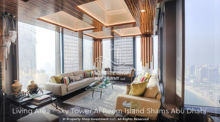 Living Room-Own a high floor fully-furnished 2BR+M Apt with sea view plus skypod