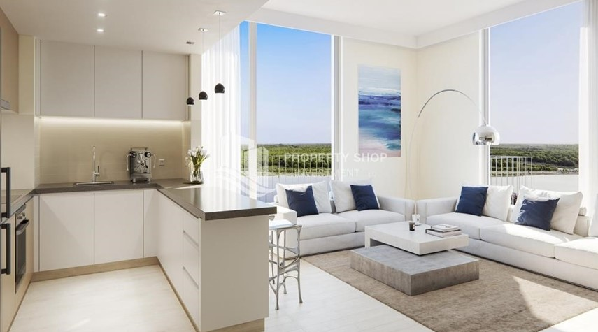 Living Room-3BR+M in a brand new community in Yas Island.
