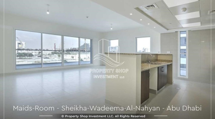 Living Room-Relaxed Ambiance in Al Raha Beach, 2BR+M Apt Available for rent!